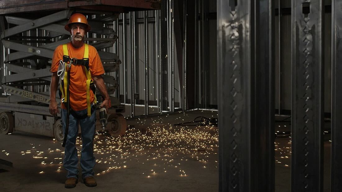 a construction worker wearing a hardhat